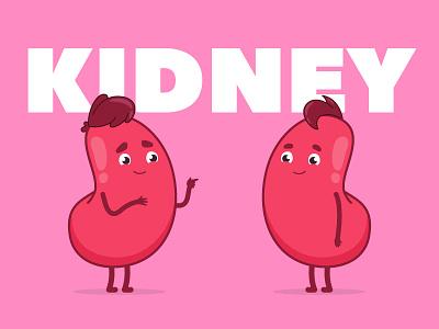 Matnat Chaim | Kidney pink hair cute animals flat design medical illustration design animation character design health life