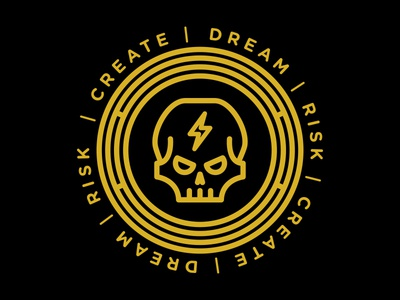 Skull - Dream, Risk, Create gold logo lightning bolt skull