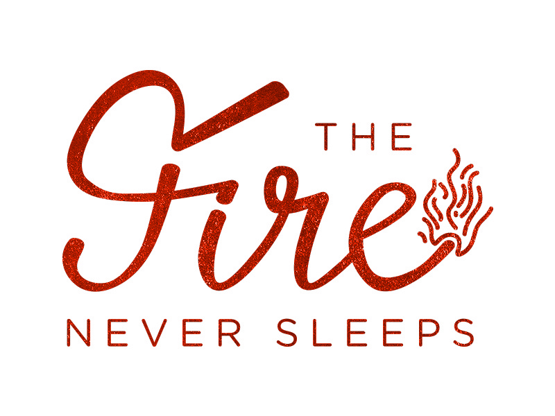 The Fire Never Sleeps letterpress shirt orange script fire handlettering