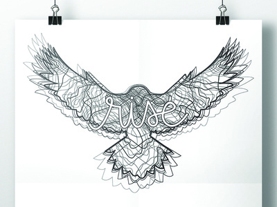 Rise line art line drawing script bird hawk rise