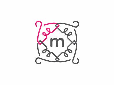 Boutique Fashion Logo boutique fashion sophisticated monogram m lines pink hanger