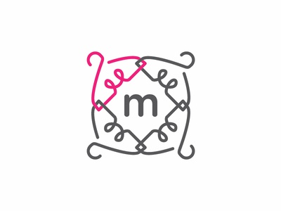 Boutique Fashion Logo boutique fashion sophisticated monogram m lines pink hanger