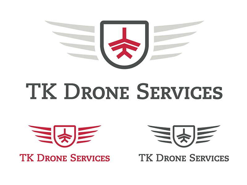 TK Drone Services Logo plane wings red grey aviation drone logo airplane