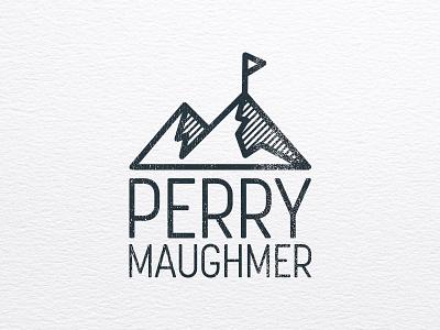 Perry Maughmer Logo monogram logo linework flag mountains
