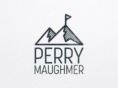 Perry Maughmer Logo monogram logo linework flag mountains