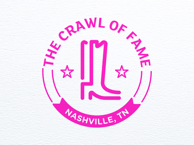 Crawl of Fame Logo linework icon nashville logo bar crawl boot cowboy boot