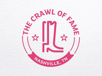 Crawl of Fame Logo linework icon nashville logo bar crawl boot cowboy boot