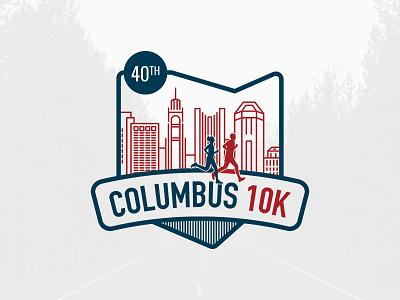 Columbus 10K Logo linework skyline city ohio columbus 10k running