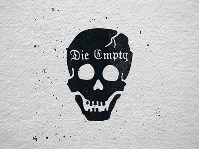 Die Empty blackletter pirate black death letterpress skull