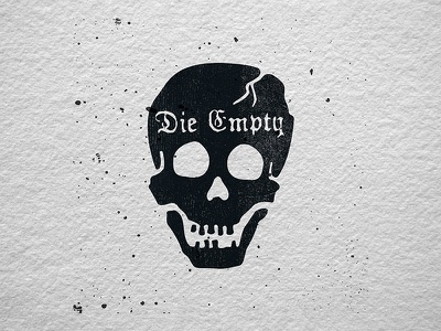 Die Empty blackletter pirate black death letterpress skull