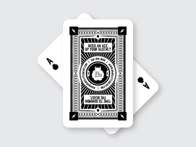 Brave Little Beast - Business Cards ace business card deck card white black linework playing card