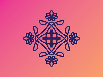 Fashion Branding Badge symmetrical emblem logo fashion crusade cross badge flowers