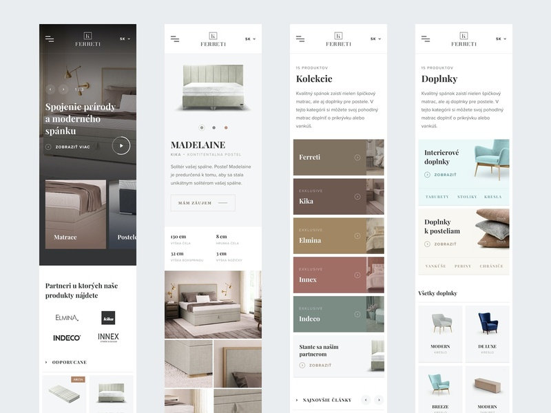 Ferreti respo pages webdesign web ux ui sleep minimal interior homepage home header ecommerce detail clean