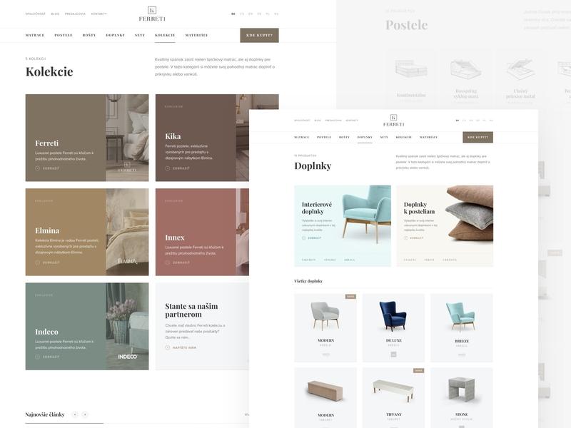 Ferreti listing pages website webdesign web ux ui sleep minimal interior homepage home header ecommerce clean