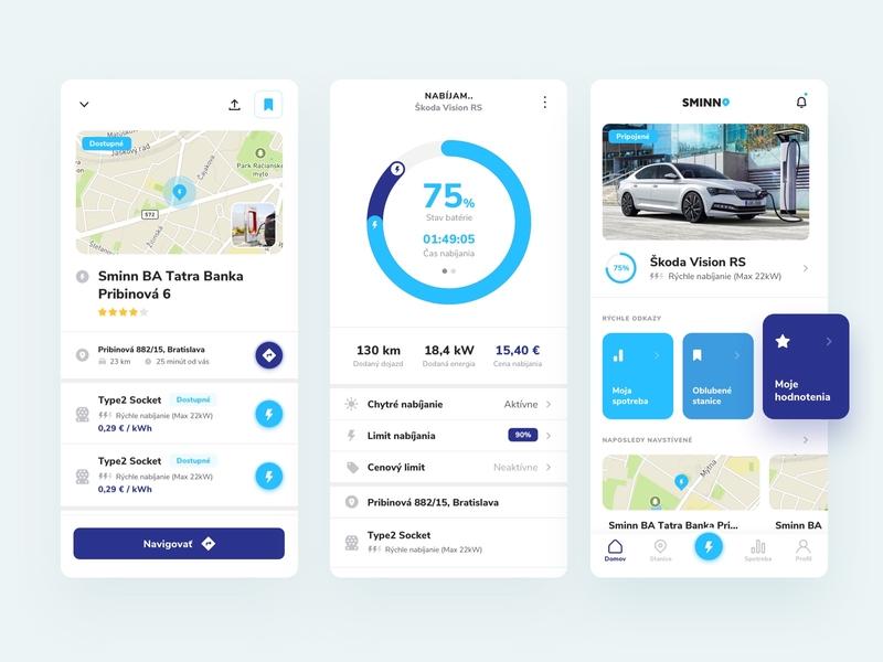 Sminn App minimal clean uiux ui tracking apa tracking product details product mobile ui mobile app ios app application ui application app design charging car electromobility