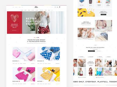 Elka Underwear website webdesign web ux ui colorful czech minimal landing homepage header ecommerce clean eshop store clothes fashion