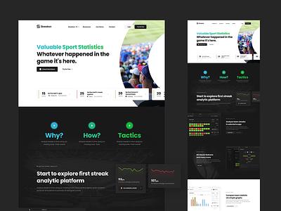 Streakon Landing stats strike betting analysis sport homepage header minimal website landing ux webdesign clean ui web