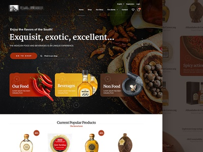 Mexican eshop WIP eshop ecommerce landing homepage webdesign header chilli spicy mexico mexican beverage food
