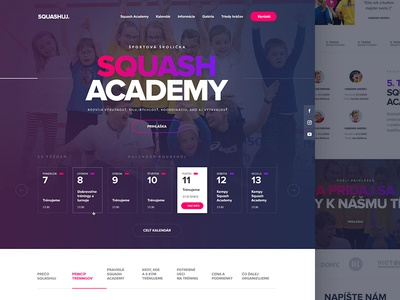One page design for Squash Academy slovakia webdesign website clean web academy calendar responsive ux ui landing onepage