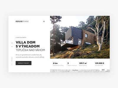 Idealne Byvanie animation slovakia minimal simple clean ux ui website typography header homepage responsive landing web living house interior home webdesign