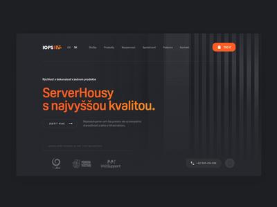 IOPS home slider home hosting server technology minimal ux clean ui slovakia header design illustration simple homepage website webdesign web