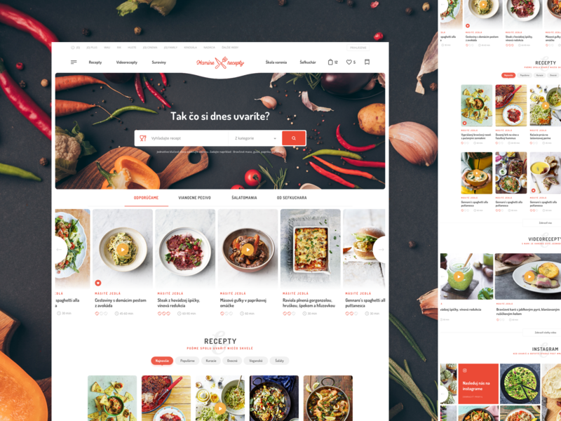 Mamine Recepty TV JOJ portal tv cooking cook recipes ui ux logo slovakia header responsive homepage website webdesign clean web