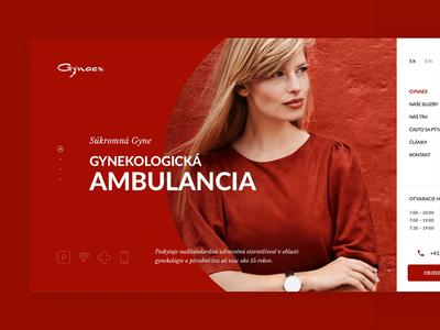 Gynaex homepage hospital gynecology design landing page header minimal slovakia homepage ui ux website webdesign clean landing web