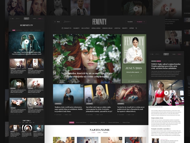 FEMINITY.SK Magazine typography newspaper design news woman ux simple slovakia header clean ui responsive webdesign website magazine landing web