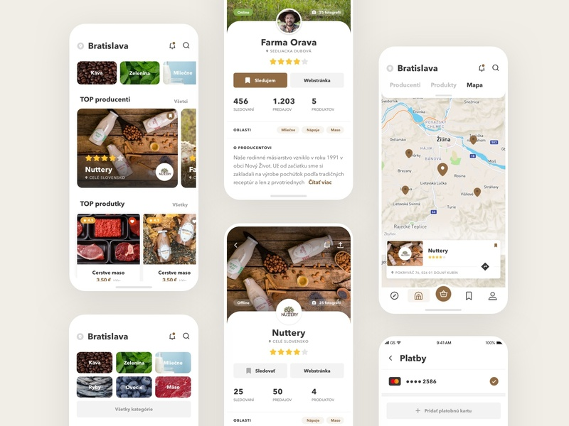 Slovak App food shopping marker farmers slovak farmer userinterface uidesign mobile minimal interface design ios app clean ui ux