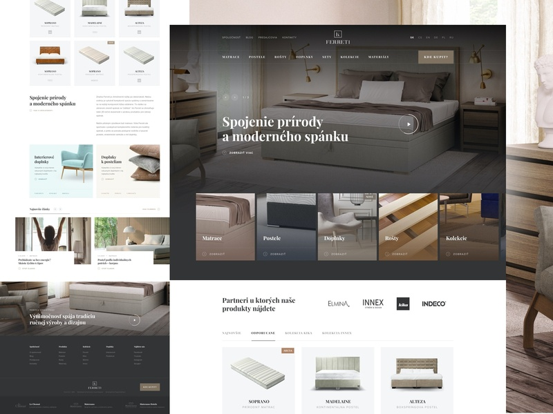 Ferreti collection webdesign ecommerce ux interior home sleep ui clean minimal header homepage website web