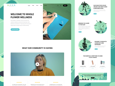 NAVA Pouch wellbeing wellness cbd oil cbd design branding illustration flat ui ux website