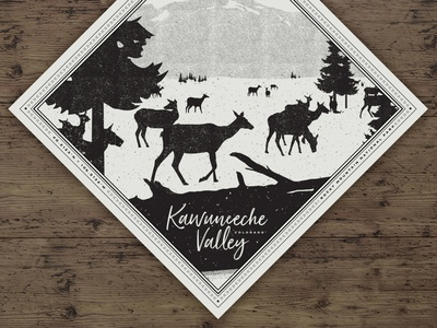 Kawuneeche Valley Bandana nature rocky mountain national park elk bandana illustration texture