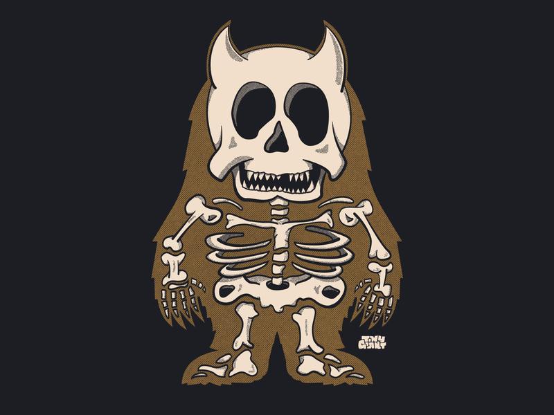 Tiny Giant Skeleton tennessee horns illustration shirt chattanooga tiny giant texture skeleton monster