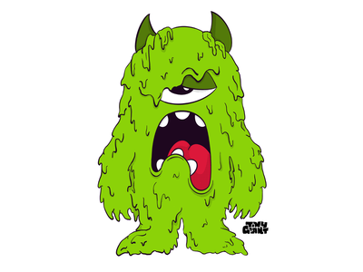 Tiny Giant - Mucus Monster mucus texture tiny giant green drippy drip horns illustration monster chattanooga