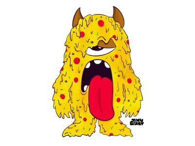 Tiny Giant Pizza Monster procreate tiny giant monster pizza design illustration chattanooga identity texture