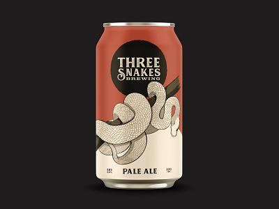 Three Snakes Brewing - Pale Ale packaging beer snakes beer can brewing brewery identity branding