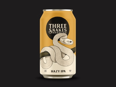 Three Snakes Brewing - Hazy IPA snakes packaging identity brewing brewery branding beer can beer