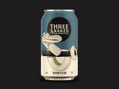 Three Snakes Brewing - Porter snakes packaging identity brewing brewery branding beer can beer
