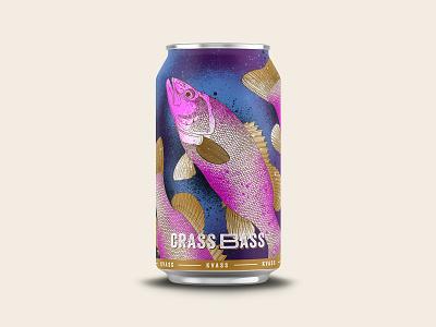 Crass Bass Kvass fish procreate design branding beer illustration logo chattanooga identity texture