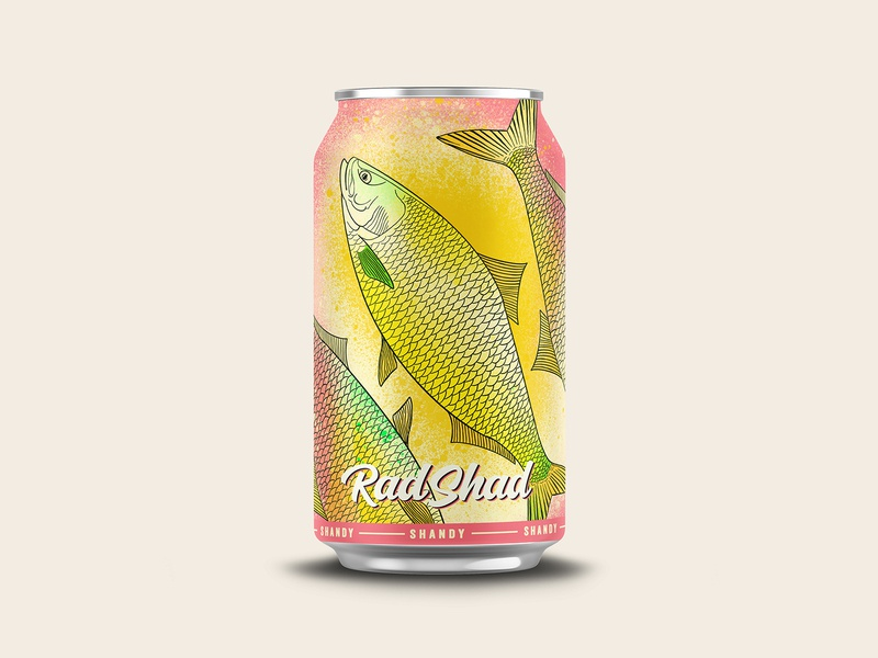 Rad Shad Shandy vector design branding beer illustration chattanooga logo identity texture