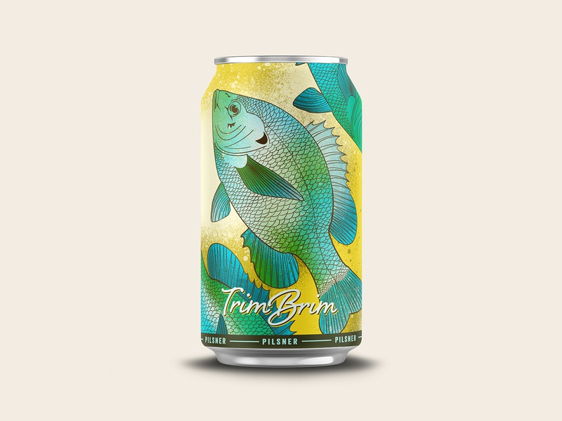 Trim Brim Pilsner can design can brim fish vector design identity branding beer illustration chattanooga logo texture
