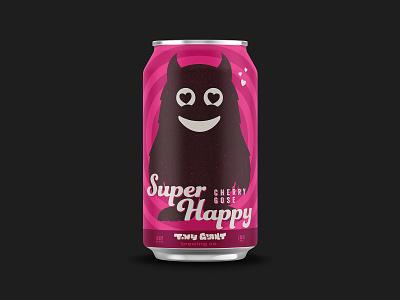 Super Happy Cherry Gose beer label design beer can beer label vector branding beer illustration chattanooga identity texture