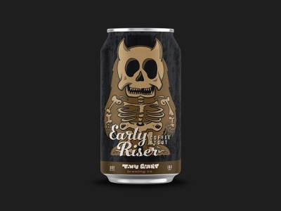 Early Riser Coffee Stout beer label beer label design beer can vector branding beer illustration chattanooga identity texture