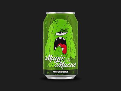 Magic Mucus Hazy IPA beer label design beer can beer label vector monster branding beer illustration chattanooga identity