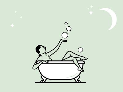 Bathing Betty illustration bubbles bath stars moon bathtub woman