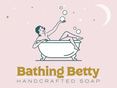 Bathing Betty soap bath pinup gold white pink stars moon bubbles lady logo identity