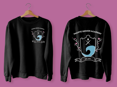 School Sweater cherryblossom springtime crest design crest logo sweatshirt apparel school crest flatdesign vector illustration