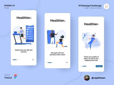 Healthier Mobile App sport onboarding health ui mobile design