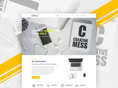 """ BLISMO "" creative agency  landing page home page home service website coming live soon flat design minimal design creative agency blismo"