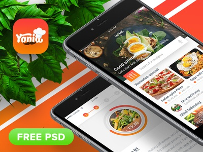 """Yonia"" food recipes iOS mobile app design (FREE PSD) adobe after effect adobe illustrator adobe photoshop motion animation interaction design app design cooking app design food app design recipe app design"